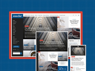 4eeder V2 Landing 06 adobe xd blog editorial publication news layouts ui kit website webdesign web ui landing
