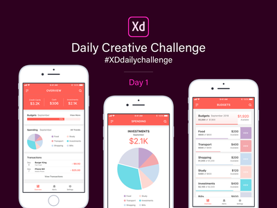 XD Daily Creative Challenge - Day 1 finance app xddailychallenge adobexd madewithadobexd