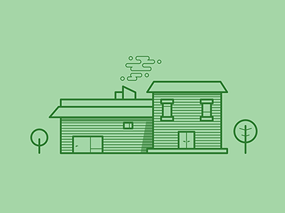 veri personal personal illustrator vector forest green trees chimney home cabin house design flat