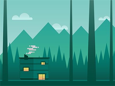 Cabin in the Woods foreground woods home parallax chimney cabin game vector illustrator platformer design flat
