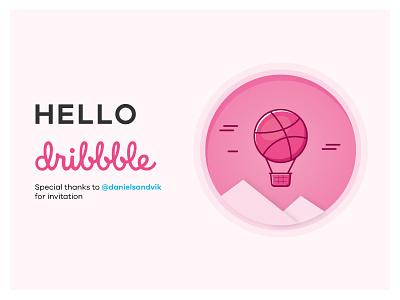 Hello Dribbble! thanks happy invitation debut airballoon dribbble firsrtshort