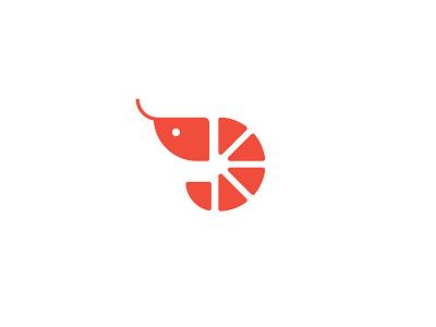Prawn brandmark icon symbol seafood logo prawn