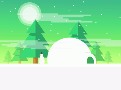 Snowman in the forest vector snowman flat