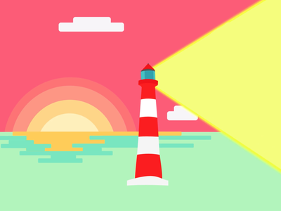 Lighthouse in the sunset geometric sunset lighthouse vector flat