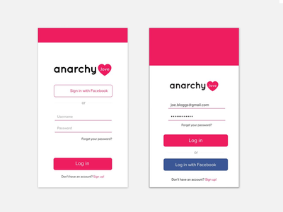 anarchy.love Login UI sign in sign up login challenge designcourse minimalistic dating app user interface ui