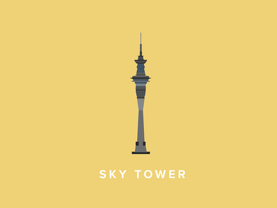 Auckland Sky Tower Icon art illustration auckland new zealand sky tower icon flat vector