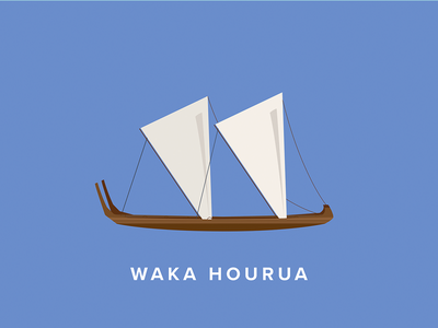 Waka Hourua Icon maori new zealand waka icon flat vector illustration art