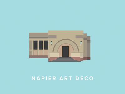Napier Art Deco Building Icon napier new zealand art deco icon flat vector illustration art
