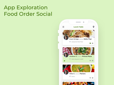 App Exploration - Food Ordering Social App app ui ux flat india dvait studio design