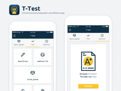 """T-Test"" Exam preparation and reference app redesign"