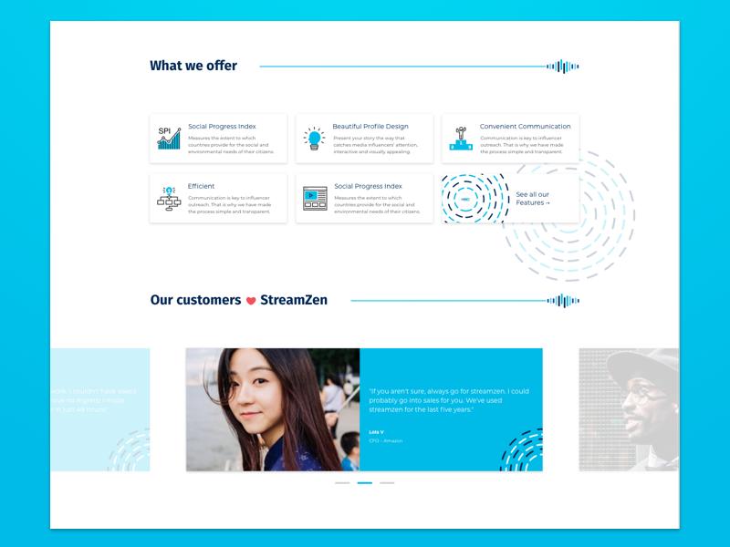 Media Outreach Landing Page – Features & Testimonials blue mongolia testimonials features social media product outreach media marketing landing page exposure
