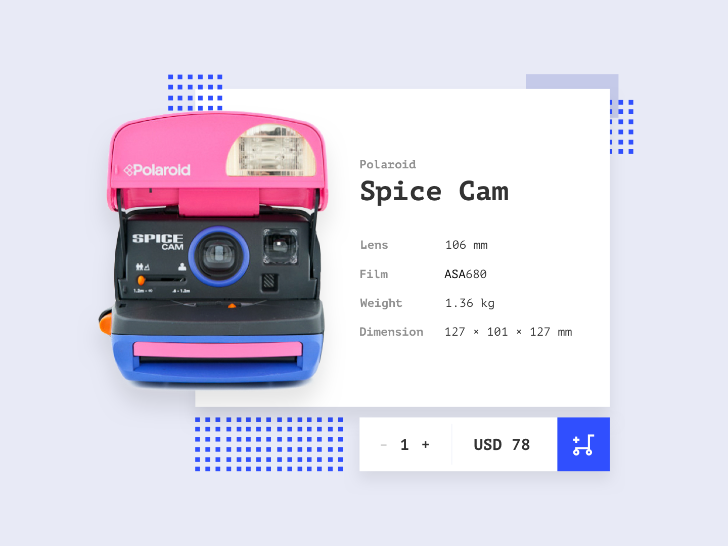 #DailyUI / E-Commerce (Single Item) mongolia www.dailyui.co shop cartoon purple indigo pink polaroid camera checkout product e-commerce dailyui