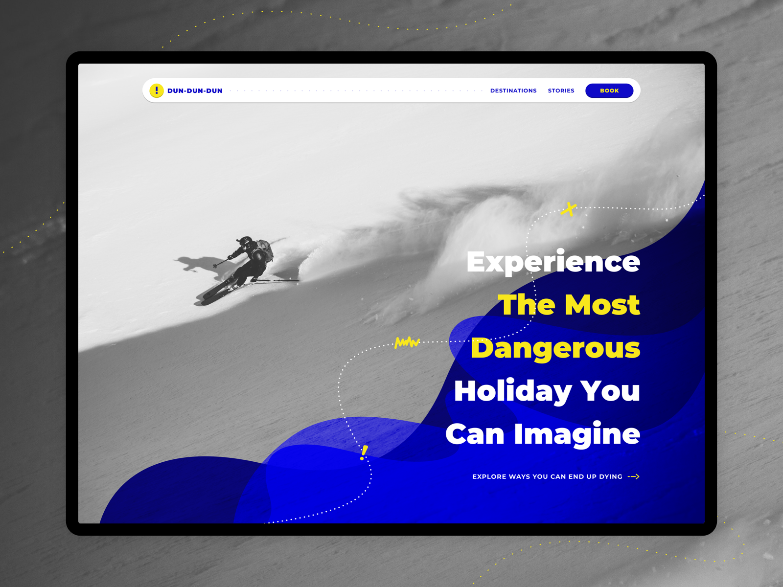 DUN-DUN-DUN agency explore dangerous tour landing page adrenaline extreme xtreme ski holiday travel danger dundundun sketch
