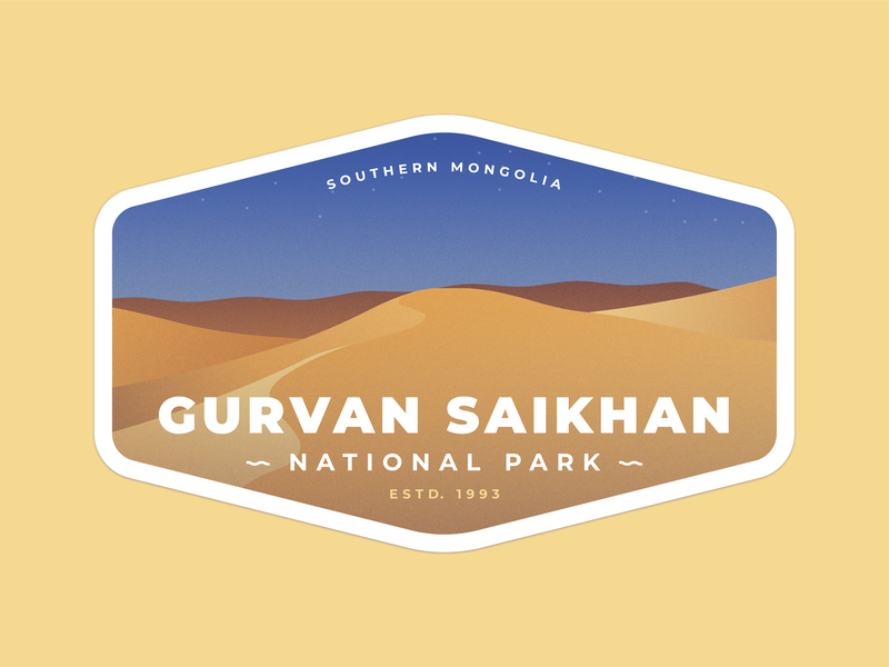 Gurvan Saikhan National Park sticker art southern badge gurvan saikhan sand dunes desert sand mongolia sticker national park