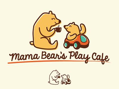 Mama Bear's Play Cafe playful logo illustration bear fun logo