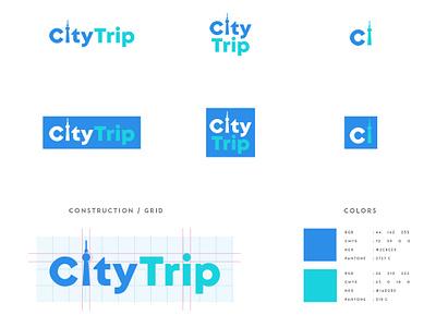 Citytrip Responsive-Logo responsive logo blue tower travel city design modern logo