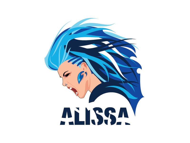 Alissa White-Gluz Fan Art profile portrait vector hair blue alissa white gluz fan art metal illustration