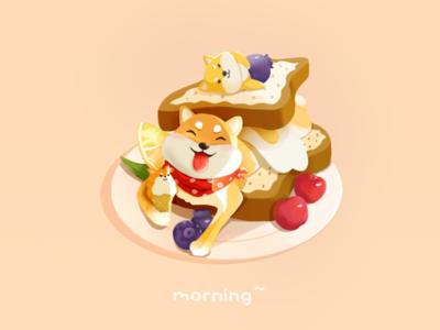 Doggie breakfast illustration happy breakfast fruit dog