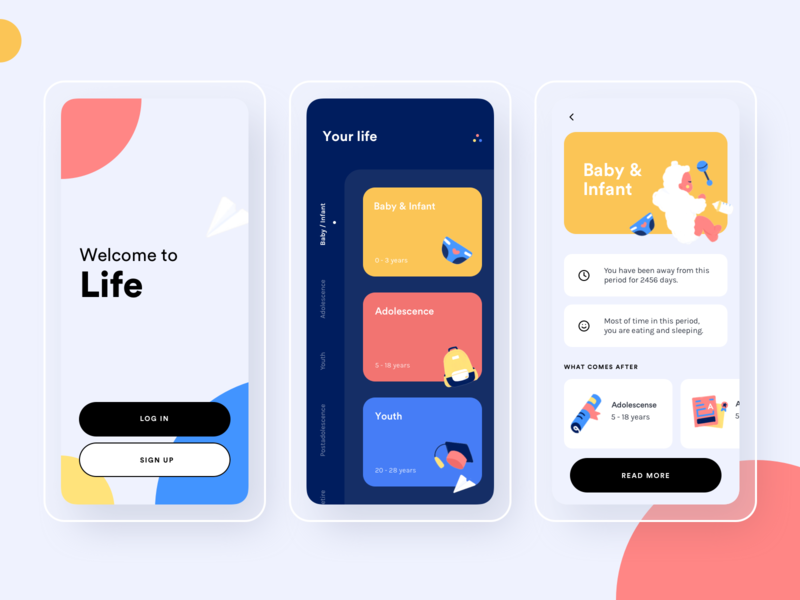 Your life app ui design baby life
