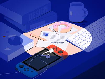 Weekend Desk isometric design book switch keyboard donuts weekend desk 2.5d isometric illustration