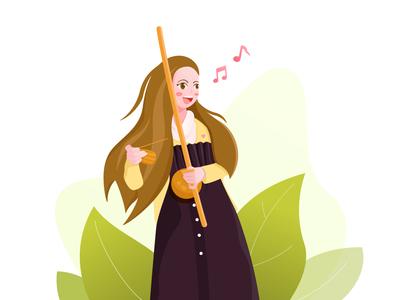 Sing girl vector music illustration girl sing