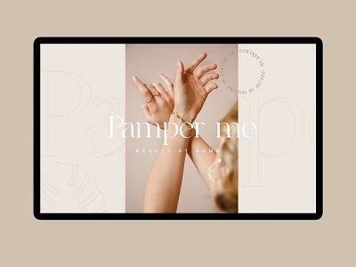 Pamper me logo typography design branding minimal