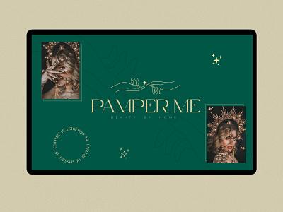 Pamper me minimal logo typography design branding