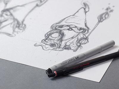 Wizard mascot - work in progress logo illustration sketch pencil drawing magic wand magic fantasy drawing illustration art hand drawn wizard