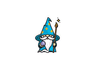 Fun Wizard Mascot wizards hat beard crystal ball magician wizard character illustration mascot logo