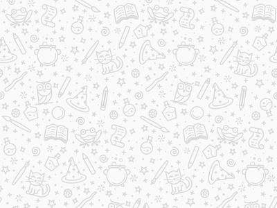 Magical Background magic potions pencil frog school scroll owl wand wizard cat illustration monoline seamlesspattern seamless pattern