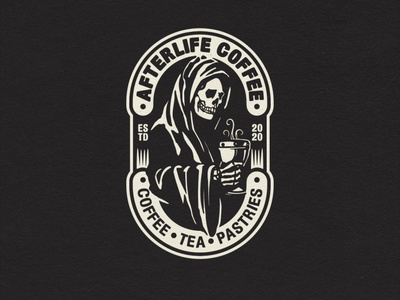 Afterlife Coffee badgelogo skeleton skull logo badge grim reaper negative space hand drawn graphic design coffee death grimreaper illustration design logo