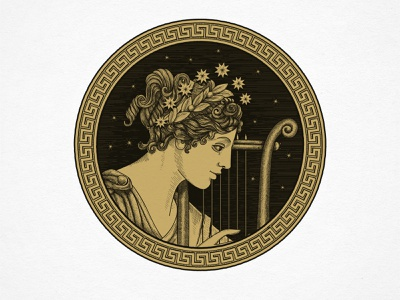 Hand-drawn illustrative logo illustration art branding lyre greek mythology hand drawn mythology greek muse illustration logo