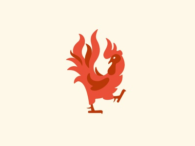 Fiery Rooster Logo - For Sale culinary character mascot fastfood grill spicy hot fire flame chicken rooster mark logo