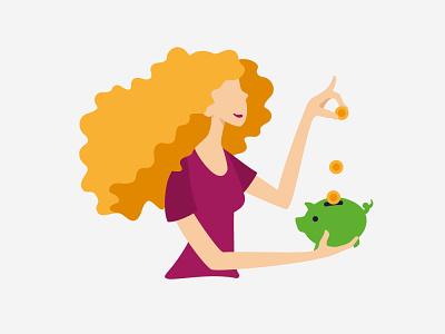 Illustrations for the website character fooddeliveryapp app money vector illustration illustration savings piggybank