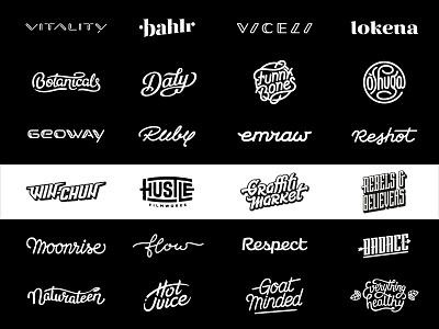 Custom wordmarks and lettering logos branding typeface mark lettering hand-lettering wordmark hand lettering logo typography custom lettering