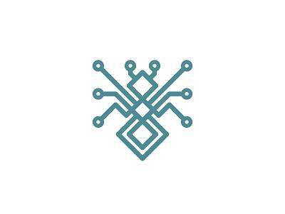 Ant Tech geometric mark logo cyber electronics pcb tech cpu conductor circuit board technology ant