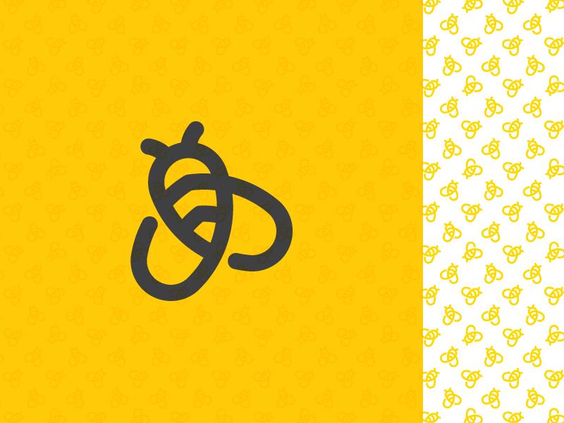 Simple Bee With Pattern pattern logo mark honeybee hive honey swarm circles geometic simple bee