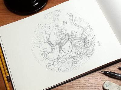 Grow - Pencil sketch vignette water sketch drawing pencil drawing pencil sketch nature hand drawn illustration