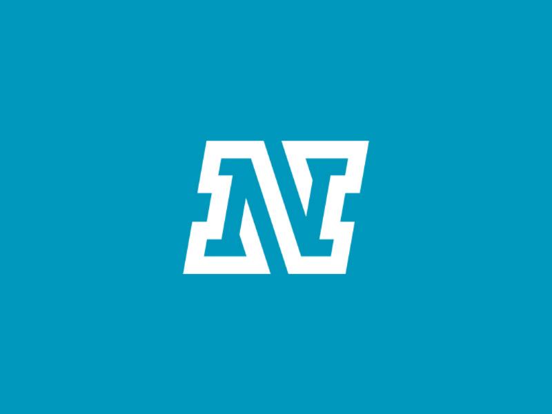 Monoline N monogram mark logo technology sport continuous line simple clean dynamic stroke geometric monoline strong letter monogram n