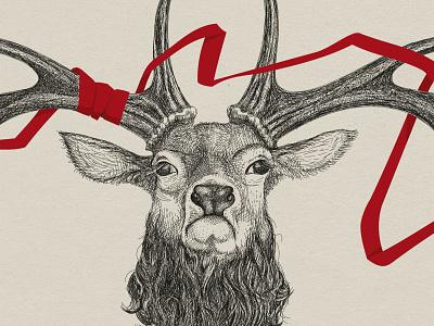 Deer pencildrawing illustrativeart antlers antler fantasy wildlife deer hand drawn vector illustration