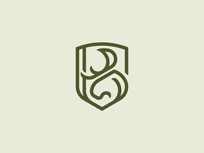 Moose Shield B Monogram Logo antler deer head letter b letter logo monogram shield stag deer elk moose