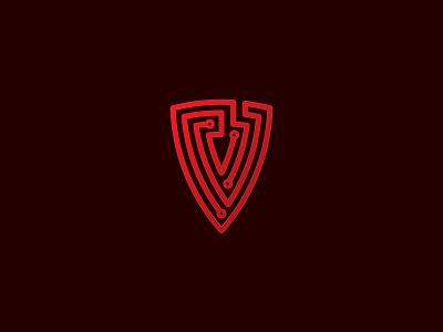 Cyber Shield V encryption security virtual shield cyber cybersecurity line app tech maze labyrinth logo