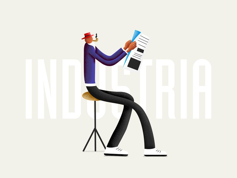 Mr. Industria character industrial color design texture vector typography art graphism illustration