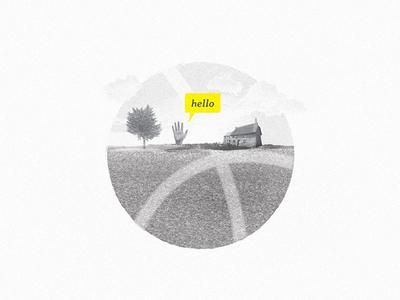 Hello, Dribbblers!  first-shot invitation design illustration art