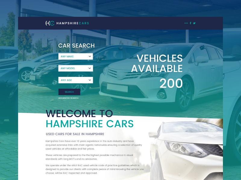 Hampshire Cars Used Car Dealer Website Concept By Ross Lagden