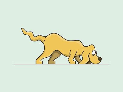 Sniffing Dog cartoon illustation hunting sniffing dog
