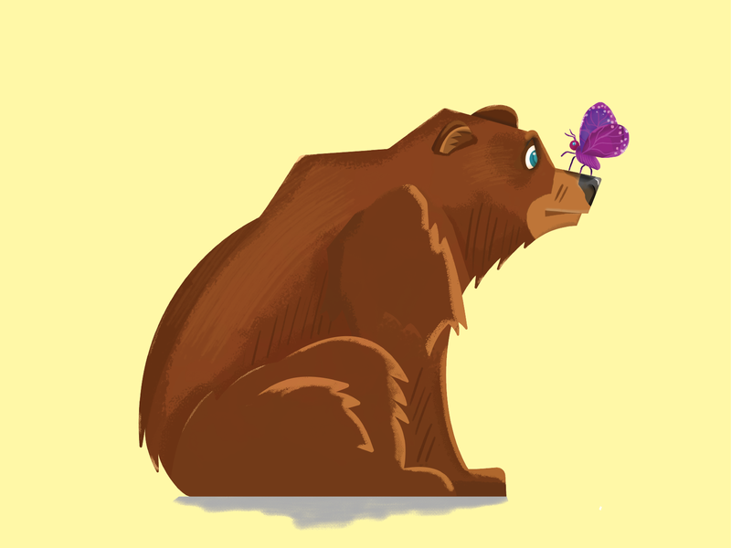 Bear Butterfly Dribbble illustrations drawing photoshop brown butterfly bear illustration