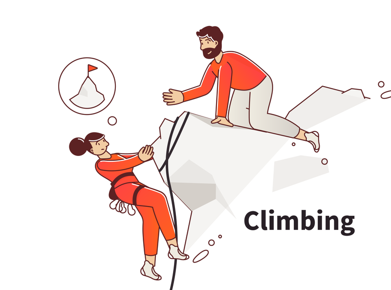 Climbing landscape manager ui red love travel landing people color character concept hard support challenge illustration illustrator header rope mountain climb