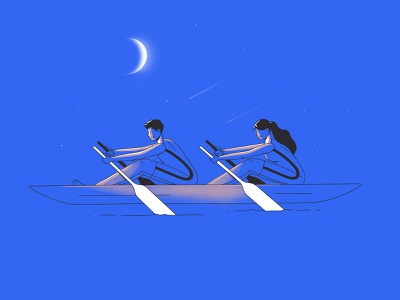 Canoing canoeing wave sea pool line contest win moon water hero landing page woman comics blue light vector free character illustration canoe