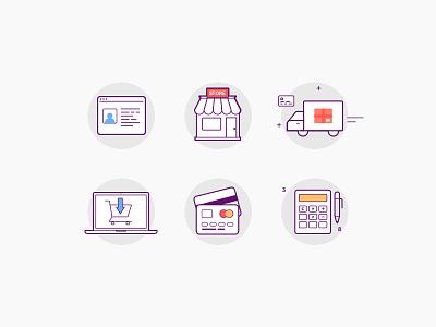 Marketplace icon set order minimal white line e-shop sell illustration icon design market